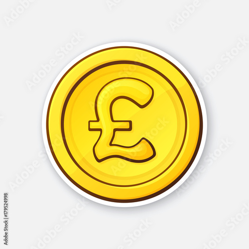 Vector Illustration Gold Coin Of British Pound Cash Money Symbol