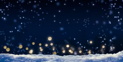 schneefall, nachthimmel, lichter, winterlicher hintergrund