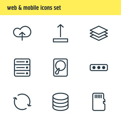 Vector Illustration Of 9 Memory Icons. Editable Pack Of Memory, Parole, Layer And Other Elements.