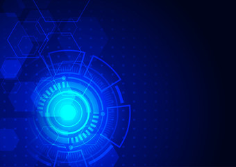 Technology background, circuit board and futuristic circle with hexagon on dark background