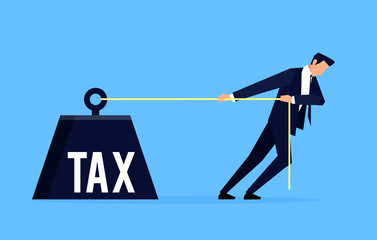 Fototapeta Taxpayer. Businessman is pulling a huge weight with a tax. obraz