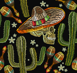 Embroidery mexican culture seamless pattern. Human skull, sombrero, maracases, cactus. Classical ethnic embroiderys kull in sombrero, day of the dead art pattern. Clothes template, t-shirt design