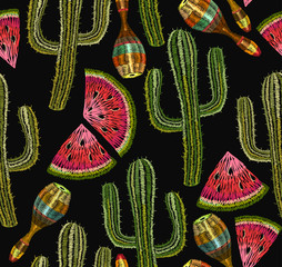 Embroidery cactus and maracas seamless pattern. Mexican ethnic classical embroidery, maracases and cactuses, watermelons seamless art seamless latin america background