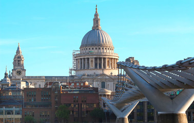 The view of the dome of Saint Paul's Cathedral and Millenium bridge, City of London.