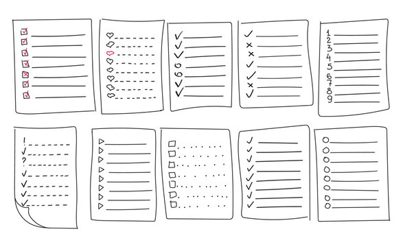 Collection of vector isolated outline hand drawn check to do list, bullet