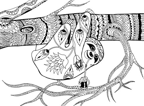 Sloth on a branch . Hand drawn patterns for coloring. Freehand sketch drawing for adult antistress coloring book in zentangle style.
