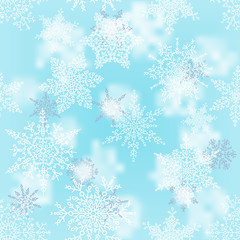 Christmas white and silver snowflakes on blur blue background. Winter holiday pattern. Greeting card. Vector illustration.