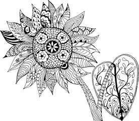 Sunflower. Hand drawn patterns for coloring. Freehand sketch drawing for adult antistress coloring book in zentangle style.