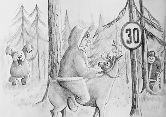 A policeman and the bear work in pairs. Cartoon
