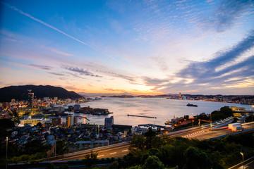 関門海峡の夕暮
