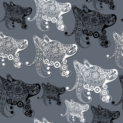 Seamless pattern with the profile of the dog 8