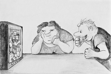 Man and woman watching football on TV
