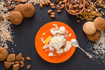 Healthy breakfast - oatmeal porridge, still life