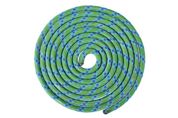 Wall Murals Mountaineering Green with blue climbing rope in round shape, isolated on white background with work path.