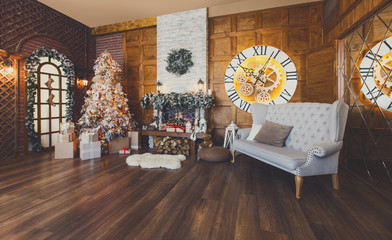Cozy christmas interior with fir tree and fireplace