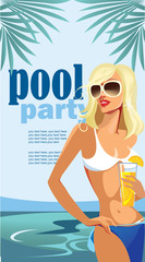 pool party, vertical images fashion girl in swimsuit on background pool, design poster for party