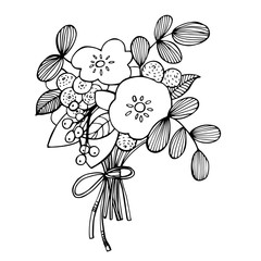 Hand drawn flowers. Vector illustration.