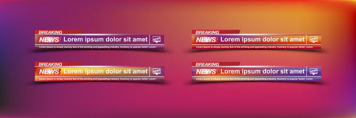 Breaking News templates title on colour background for screen TV channel. Flat vector illustration EPS10