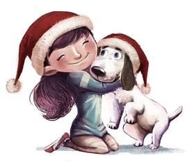niña con perro en navidad