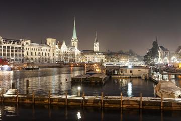 Zürich Stadtansicht bei Nacht