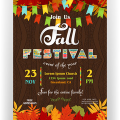 Fall festival poster template. Ornate letters, colorful autumn season leaves and flags.