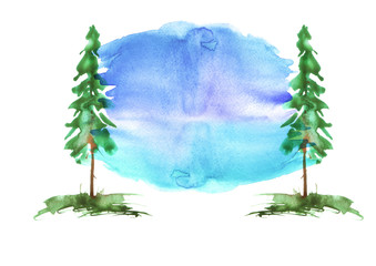 Watercolor group of trees - fir, pine, cedar, fir-tree. green, summer forest, landscape, forest landscape. Watercolor card.   Abstract splash of paint.