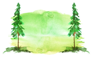 Watercolor group of trees - fir, pine, cedar, fir-tree. green, summer forest, landscape, forest landscape. Watercolor card.   Abstract splash of paint.