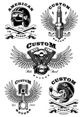 Set of 5 vintage biker illustrations on white background_1  (raster version)