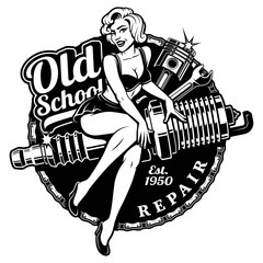 Spark Plug Pin Up Girl (monochrome  raster  version)
