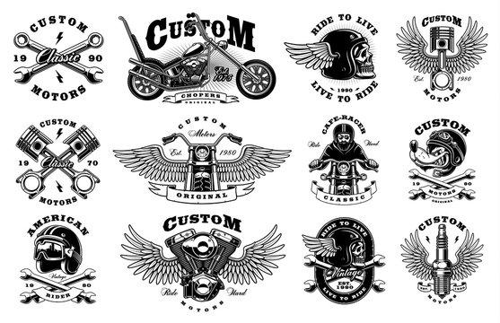 Set with 12 vintage biker illustrations on white background (raster version)