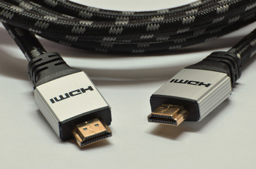 Close-up hdmi audio and video cable isolated on white background