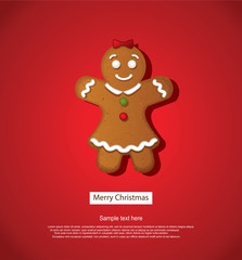 Christmas Background With Gingerbread Decoration