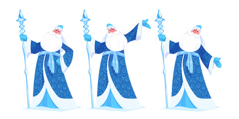 """Russian Father Frost or """"Ded Moroz"""" in blue color."""