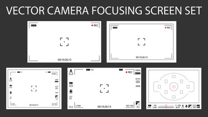 Modern camera focusing screen with settings 5 in 1 pack - digital, mirorless, DSLR. White viewfinders camera recording isolated. Vector illustration
