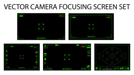 Modern camera focusing screen with settings 5 in 1 pack - digital, mirorless, DSLR. Black and green viewfinders camera recording isolated. Vector illustration
