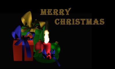 """Stimmungsvolles Weihnachtsbild mit Geschenken und brennender Kerze auf schwarzem Hintergrund mit dem Text """"Frohe Weihnachten"""""""