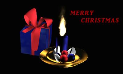 """Stimmungsvolles Weihnachtsbild mit Geschenk und Adventsgesteck auf schwarzem Hintergrund mit dem Text """"Frohe Weihnachten"""" in englisch"""