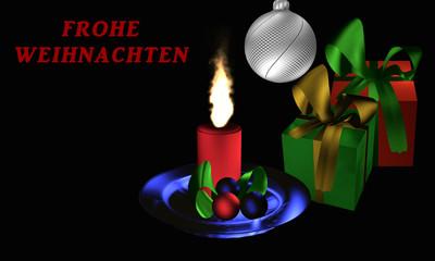 """Stimmungsvolles Weihnachtsbild mit Geschenken und Weihnachtsgesteck auf schwarzem Hintergrund mit dem Text """"Frohe Weihnachten"""" in deutsch"""