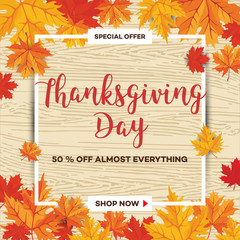Template for Thanksgiving Day sale discount banner with autumn leaves and pumpkin. Vector illustration for invitation, posters, brochure, special offer voucher. American traditional family holiday.