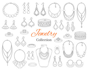 Fashionable jewelry collection, vector hand drawn doodle illustration.