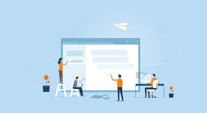 web develop and web design team  working  concept