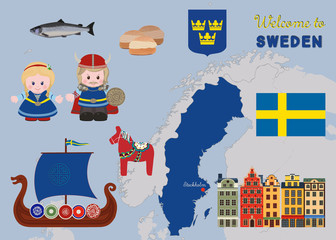 Welcome to Sweden, scandinavian symbols set