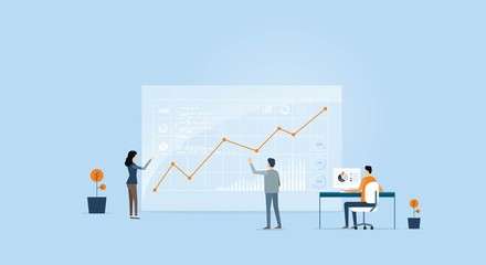business people analytics graph on monitor and people business team working  concept