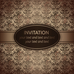 Invitation vector card in brown with gold ribbon
