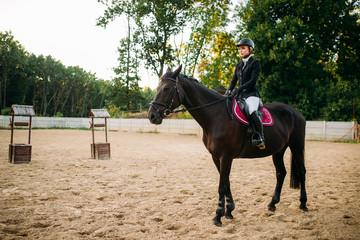 Equestrian sport, woman on horseback, side view