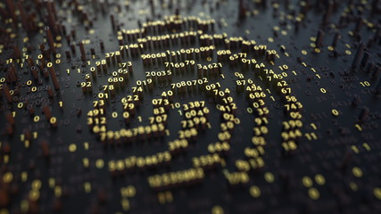 Fingerprint sign made of fluctuating golden numbers. Digital identity, electonic ID or personal data concepts. 3D rendering