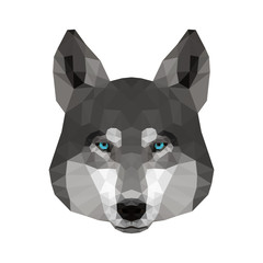 Abstract polygonal wolf head. Modern low poly wolf portrait pattern background