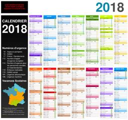 Calendrier 2018 sur 14 mois avec modification des dates pour la zone B découpée en B1 et B2 MODIFIABLE avec non vectorisés / Calendrier scolaire complet, numéros d'urgence