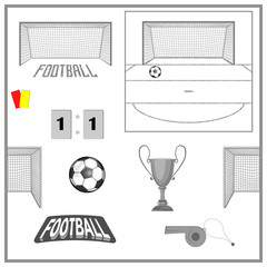 set of accessories for playing soccer. isolate on white background.