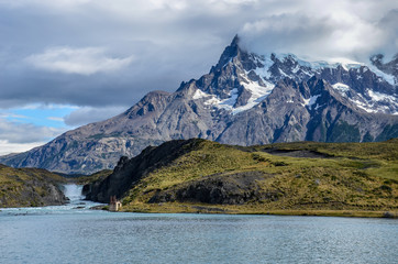 Lago Pehoe and Torres del Paine national park in Chile, Patagonia